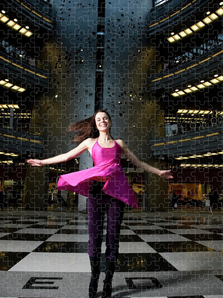 People Puzzle featuring the photograph Woman Dancing In Old Brewery Shopping by Tim E White