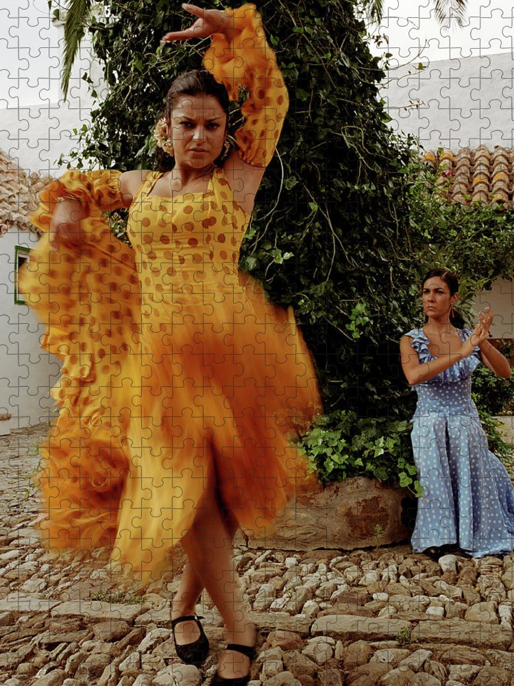 Blurred Motion Puzzle featuring the photograph Woman Flamenco Dancer, Outdoors by Tim Macpherson