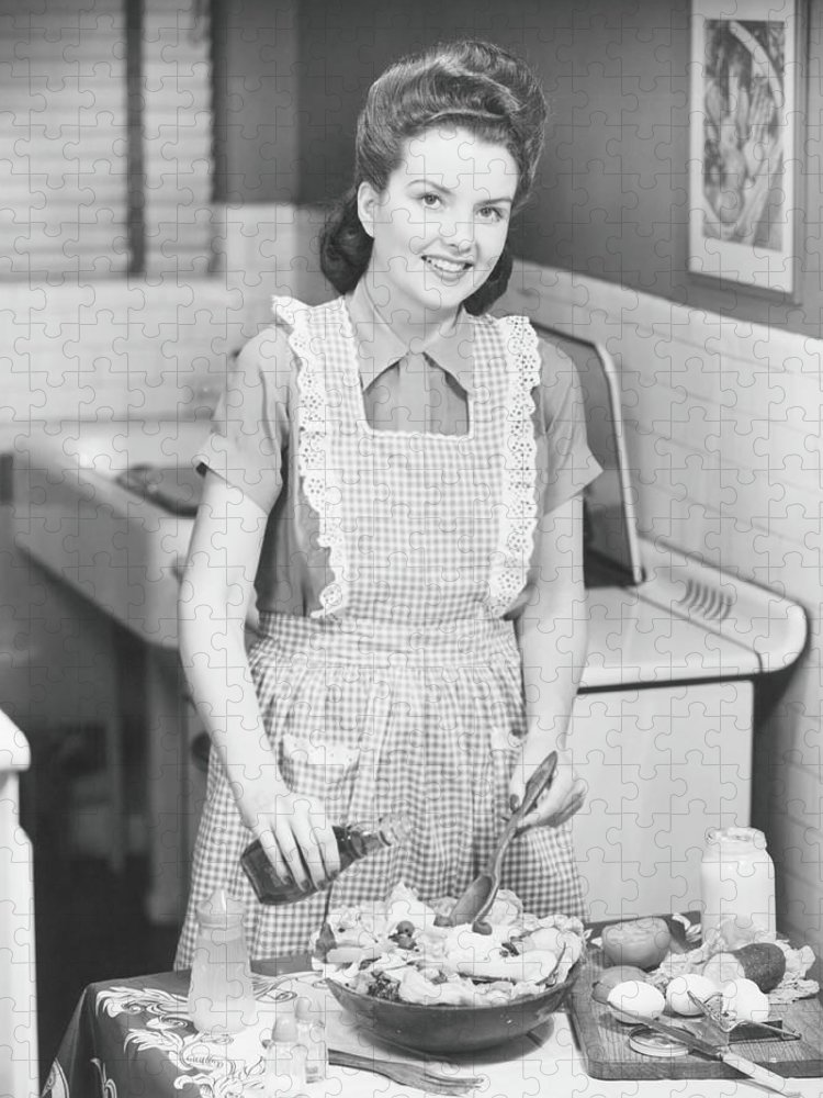 Three Quarter Length Puzzle featuring the photograph Woman Preparing Salad In Kitchen , B&w by George Marks