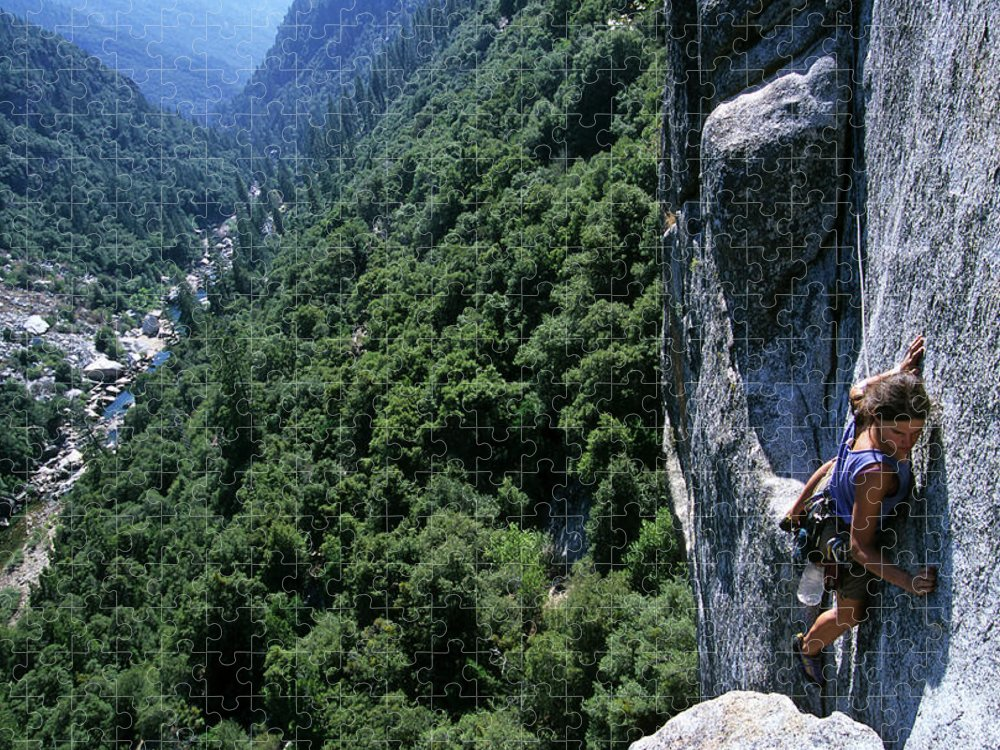 People Puzzle featuring the photograph Woman Rock Climbing High Above River by Heath Korvola