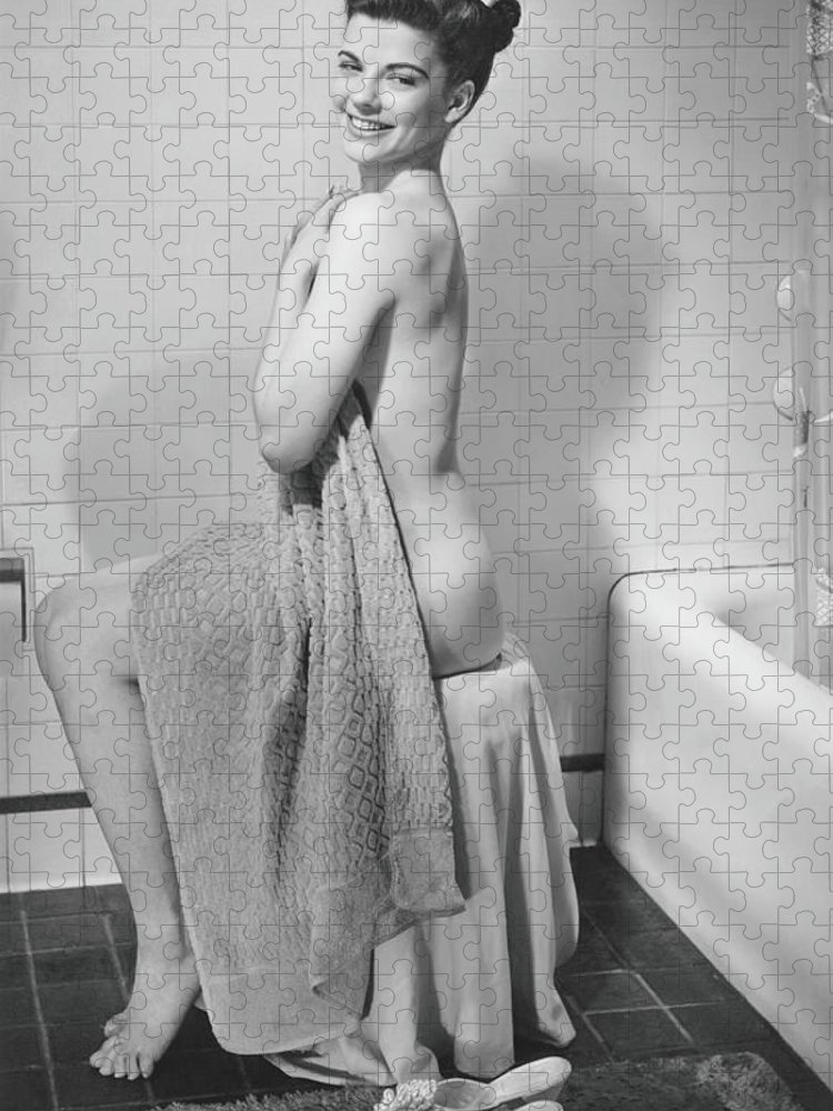 Looking Over Shoulder Puzzle featuring the photograph Woman Sitting In Bathroom, Covering by George Marks