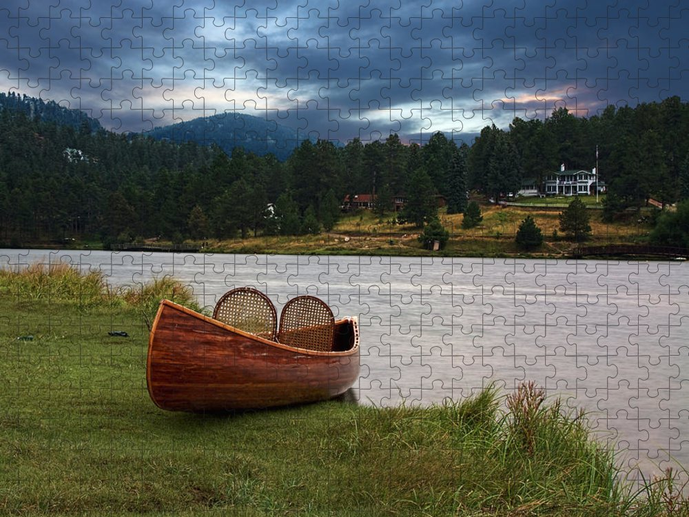 Tranquility Puzzle featuring the photograph Wood Canoe by Brad Mcginley Photography