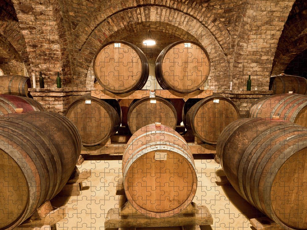 Arch Puzzle featuring the photograph Wooden Barrels In Wine Cellar by Benedek