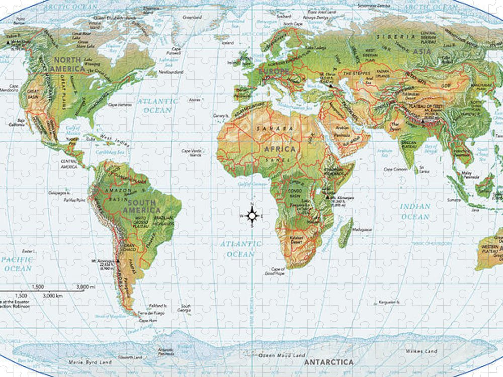 Equator Puzzle featuring the digital art World Map, Physical by Globe Turner, Llc