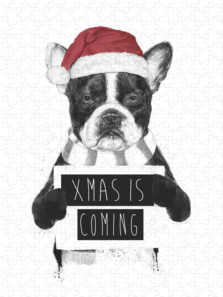 Bulldog Puzzle featuring the mixed media Xmas is coming by Balazs Solti