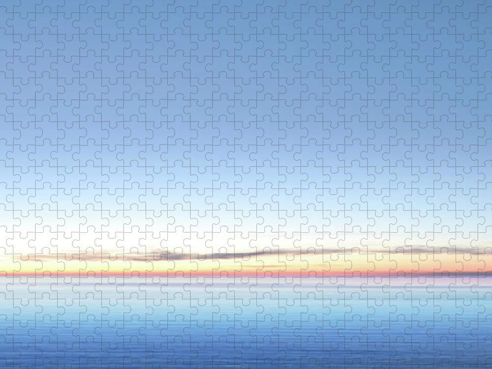 Lake Michigan Puzzle featuring the photograph Xxl Serene Twilight Lake by Sharply done