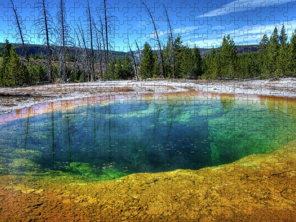 Morning Glory Pool Puzzle featuring the photograph Yellowstone Hot Spring by Dbushue Photography