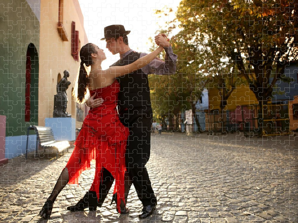 Young Men Puzzle featuring the photograph Young Couple Dancing Tango In Street by Buena Vista Images