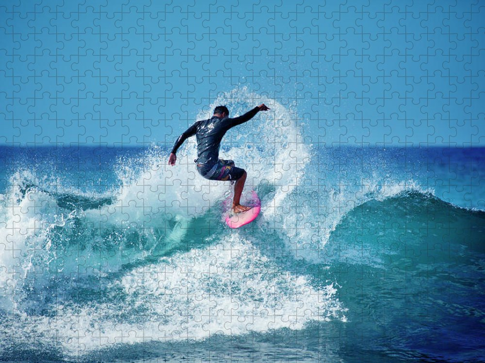 Young Men Puzzle featuring the photograph Young Male Surfer Surfing In The Water by Yinyang