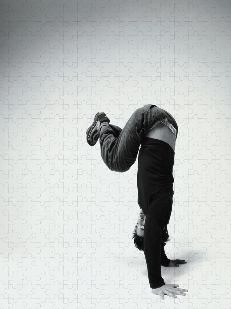 Youth Culture Puzzle featuring the photograph Young Man Breakdancing B&w by Karen Moskowitz