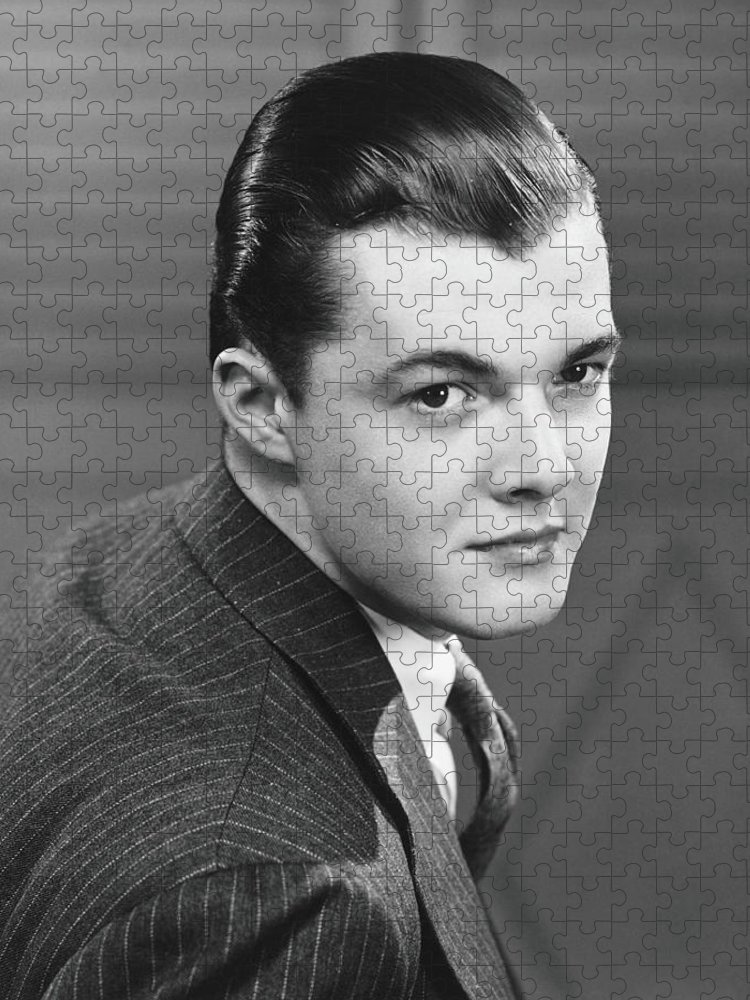 Young Men Puzzle featuring the photograph Young Man Wearing Pinstripe Jacket by George Marks