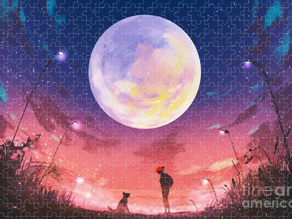 Friendship Puzzle featuring the digital art Young Woman And Dog At Beautiful Night by Tithi Luadthong