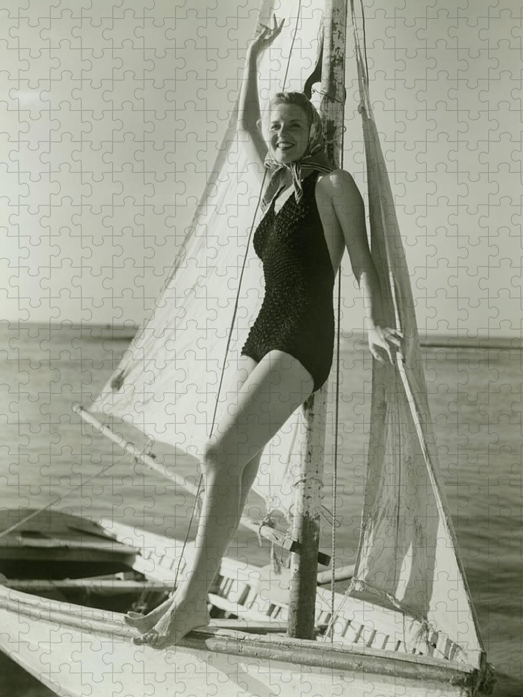 Human Arm Puzzle featuring the photograph Young Woman Posing On Sailboat by George Marks