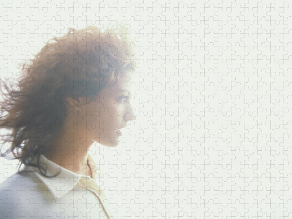 Beautiful Woman Puzzle featuring the photograph Young Woman, Profile Soft Focus by Thomas Barwick