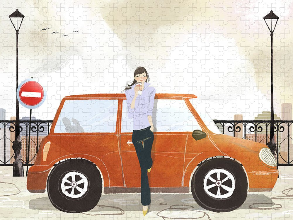 People Puzzle featuring the digital art Young Woman Standing In Front Of Car by Eastnine Inc.