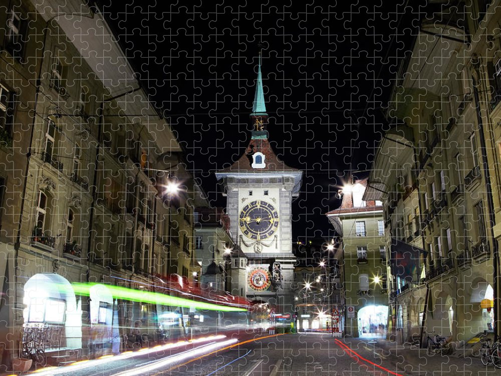 Clock Tower Puzzle featuring the photograph Zytglogge Tower At Night by Allan Baxter