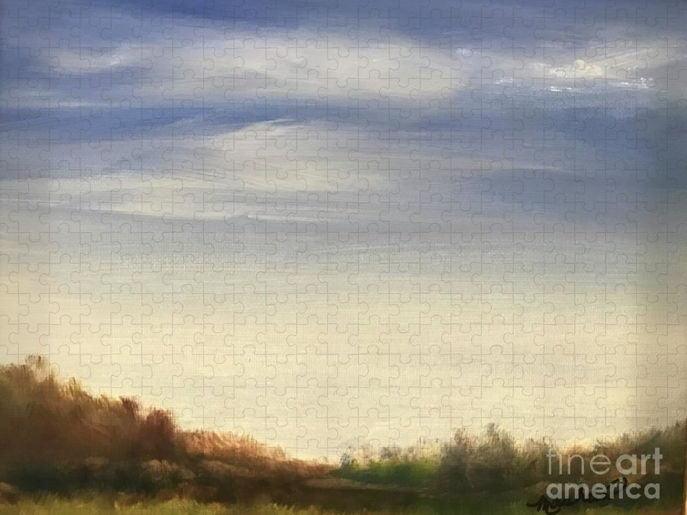 Blue Sky Landscape Puzzle featuring the painting Blue Sky by Sheila Mashaw