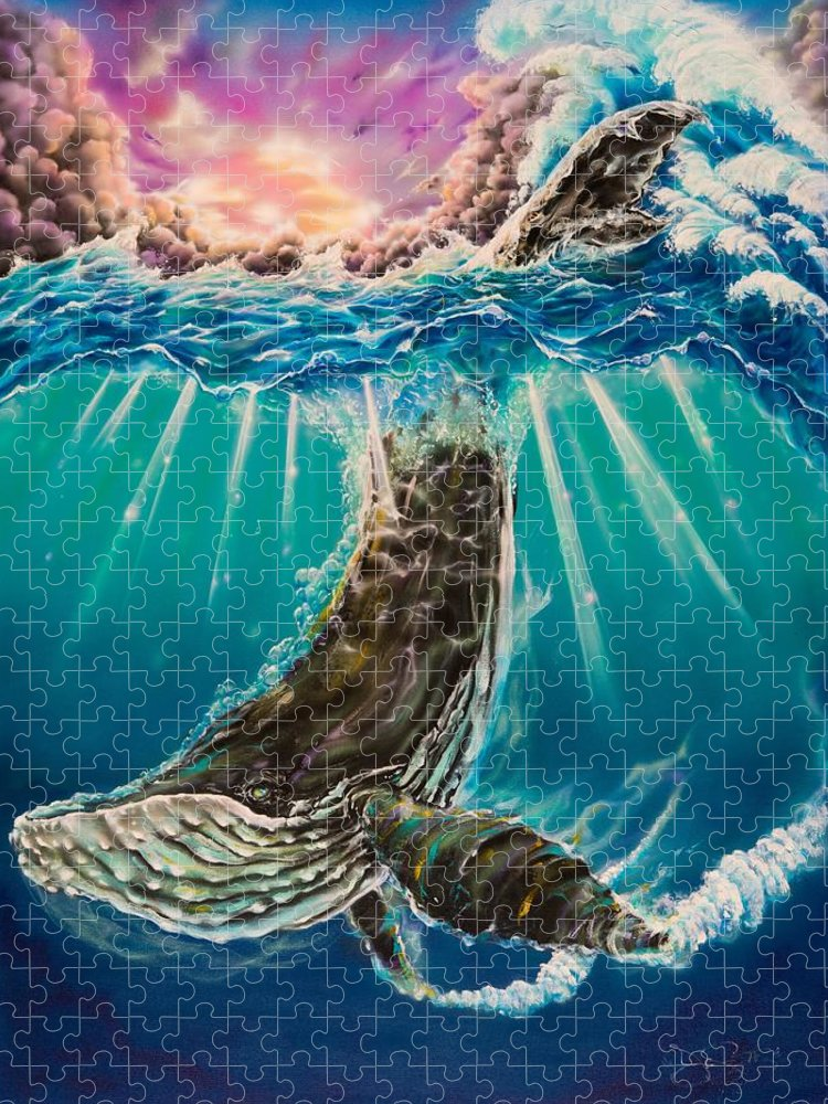 Aloha Puzzle featuring the painting The Dive by Joel Salinas III