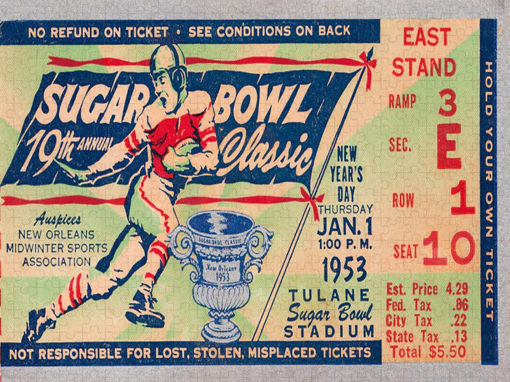 Georgia Tech Puzzle featuring the mixed media 1953 Sugar Bowl Ticket Art by Row One Brand