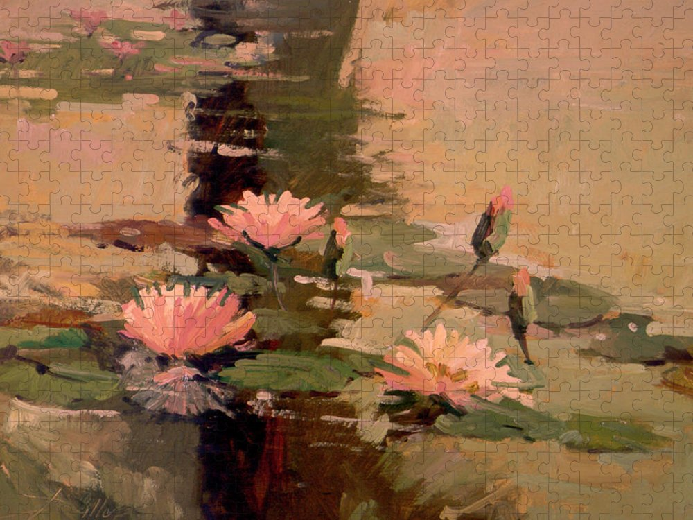 Water Lily Paintings Puzzle featuring the painting Pond Blossoms - Water Lilies by Betty Jean Billups