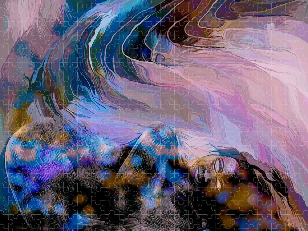 Modern Abstract Art Puzzle featuring the mixed media Abstract Island Girl Slumbering On The Beach by Joan Stratton
