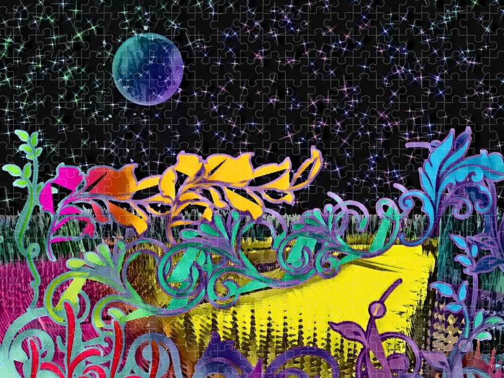 Planet Puzzle featuring the digital art Adwilliafe Garden by Rachel Hannah