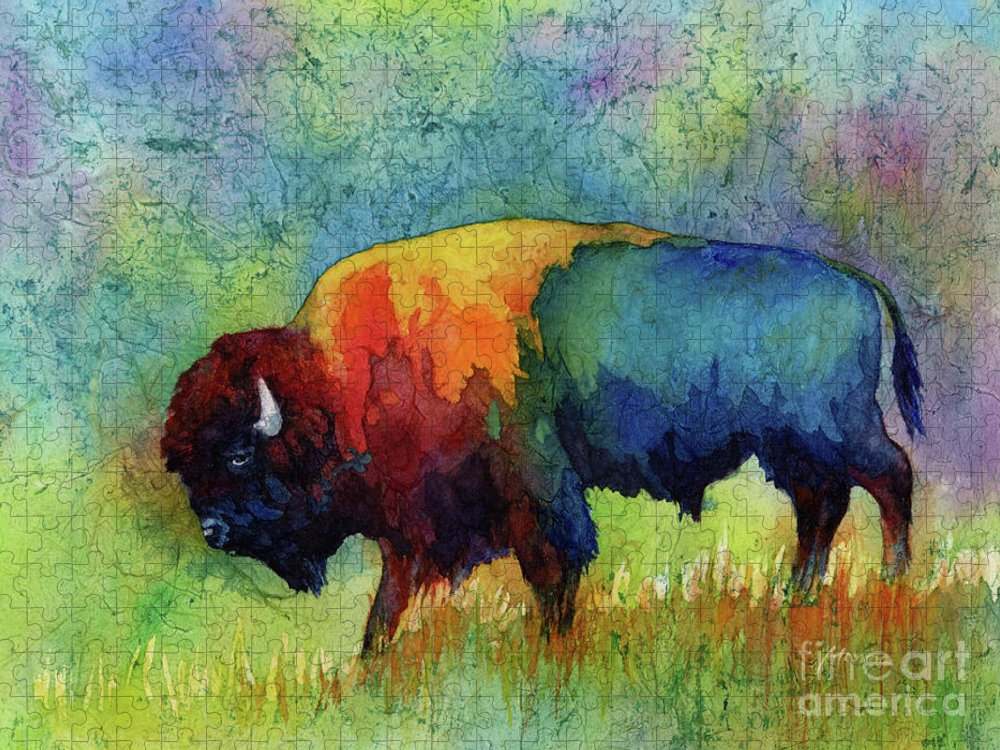 Bison Puzzle featuring the painting American Buffalo III by Hailey E Herrera