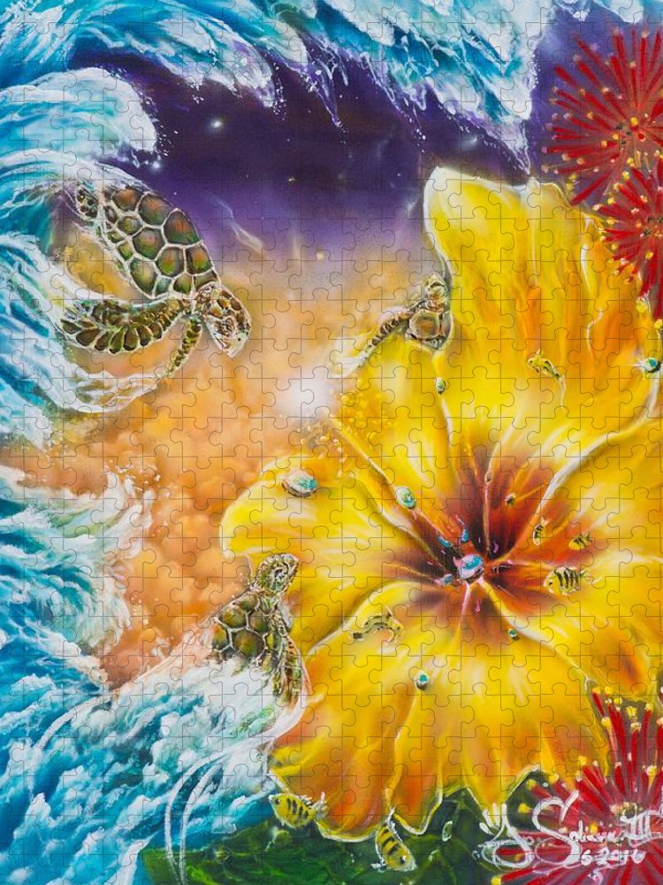 Aloha! Honu Hawaii Art Hibiscus Coral Reefs Flowers Floral Reefs Puzzle featuring the painting Wave of the Honu by Joel Salinas III