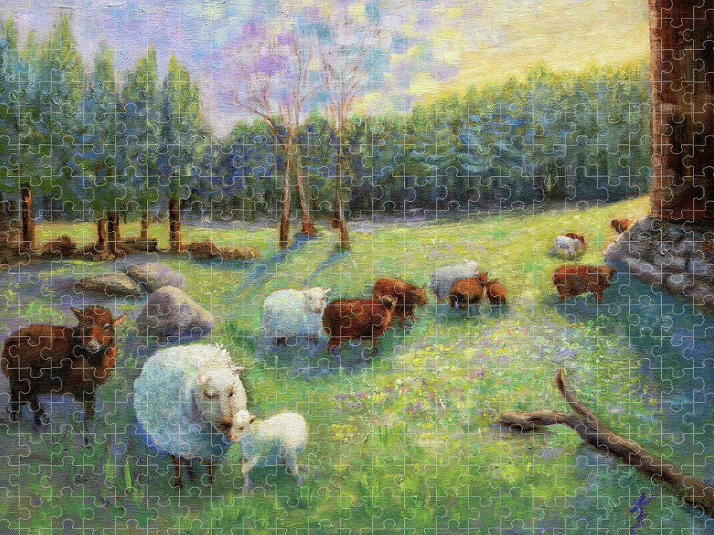 Sheep Puzzle featuring the painting Spring Sunrise by Kate Emery
