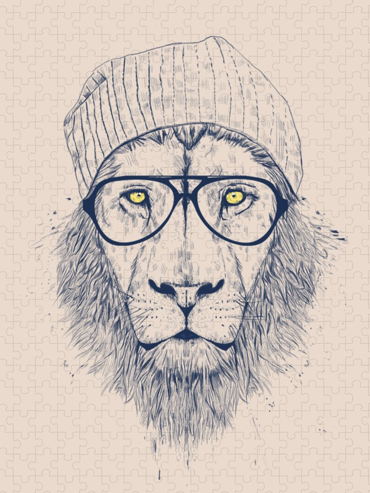 Lion Puzzle featuring the drawing Cool lion by Balazs Solti