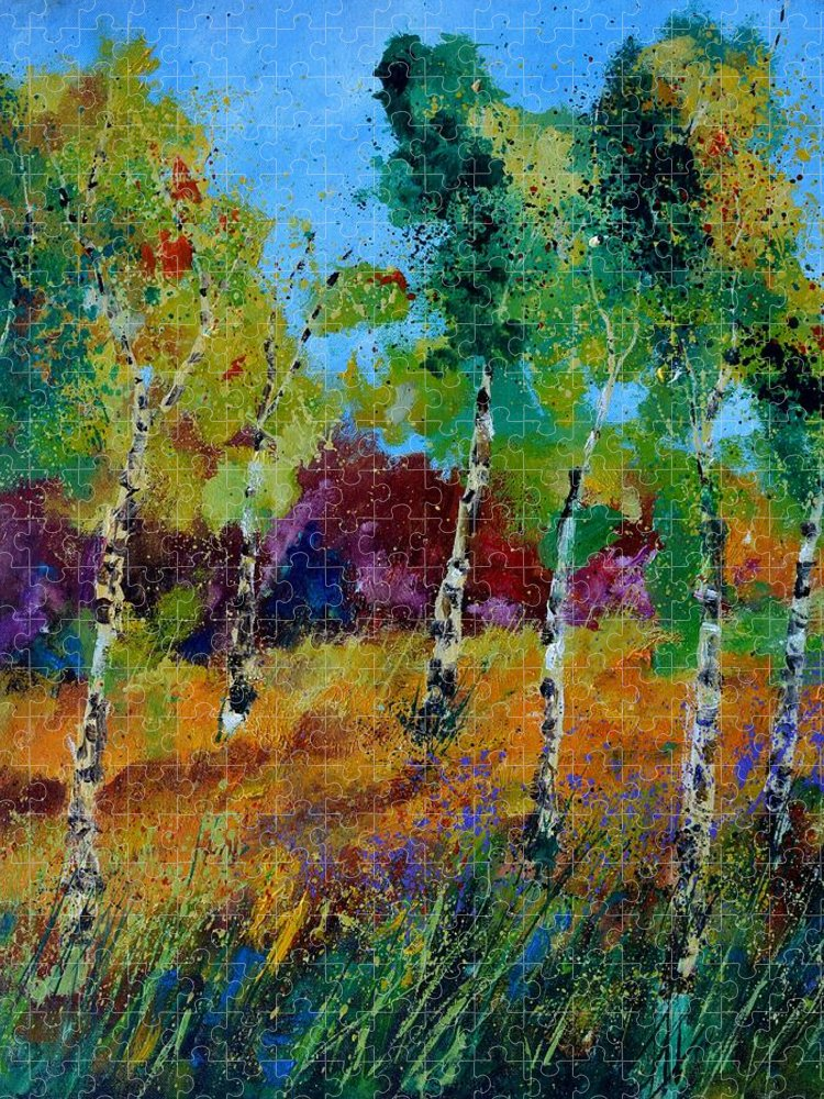 Landscape Puzzle featuring the painting Aspen trees in autumn by Pol Ledent