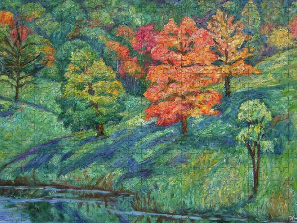 Landscape Puzzle featuring the painting Autumn Pond by Kendall Kessler