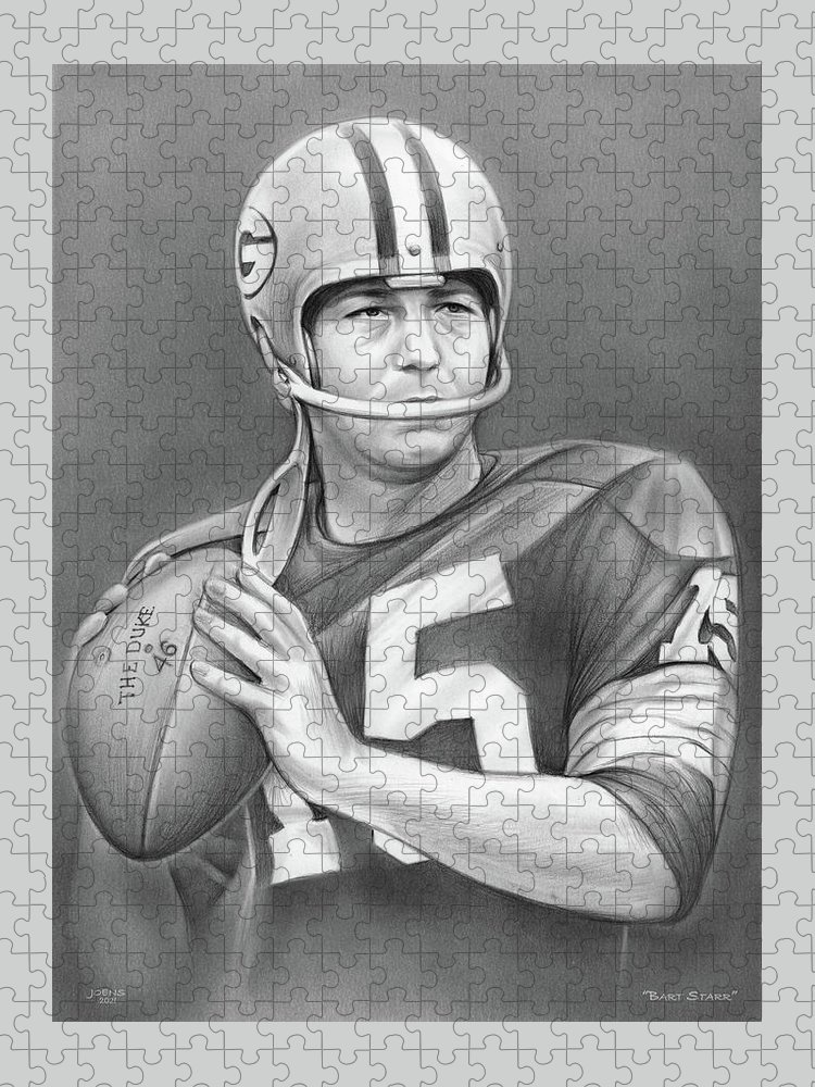 Bart Starr Puzzle featuring the drawing Bart Starr - Pencil by Greg Joens