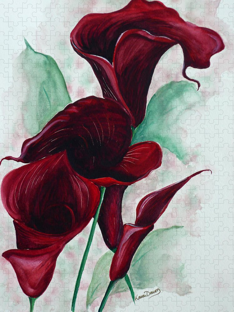 Flower Painting Floral Painting Botanical Painting Tropical Painting Caribbean Painting Calla Painting Red Lily Painting Deep Red Calla Lilies Original Watercolor Painting Puzzle featuring the painting Black Callas by Karin Dawn Kelshall- Best
