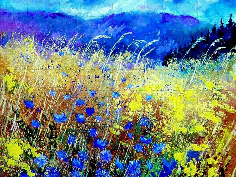 Poppies Puzzle featuring the painting Blue cornflowers 67 by Pol Ledent