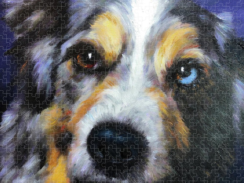 Blue Merle Puzzle featuring the painting Blue Merle Dog Portrait by Portraits By NC