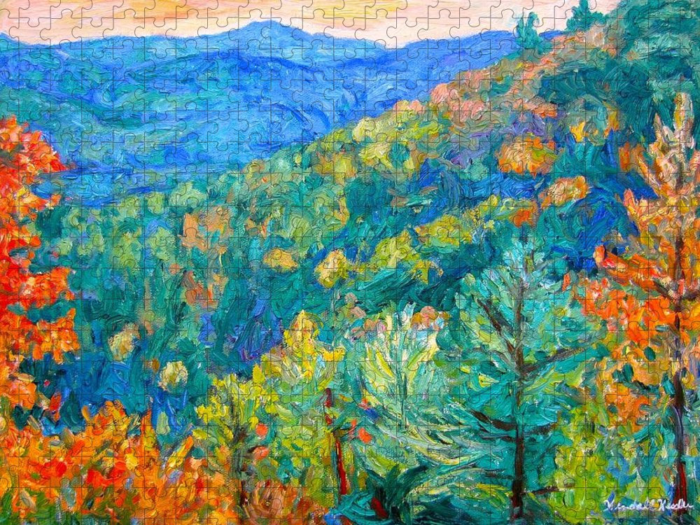 Blue Ridge Mountains Puzzle featuring the painting Blue Ridge Autumn by Kendall Kessler