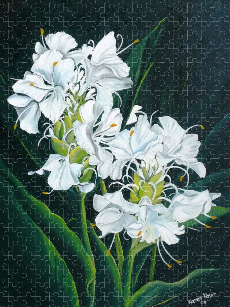 Caribbean Painting Butterfly Ginger Painting Floral Painting Botanical Painting Flower Painting Water Ginger Painting Or Water Ginger Tropical Lily Painting Original Oil Painting Trinidad And  Tobago Painting Tropical Painting Lily Painting White Flower Painting Puzzle featuring the painting Butterfly Ginger by Karin Dawn Kelshall- Best