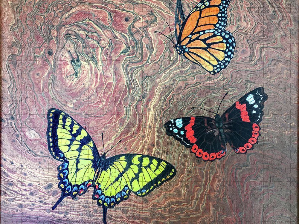 Butterflies Puzzle featuring the painting California Butterflies by Lucy Arnold