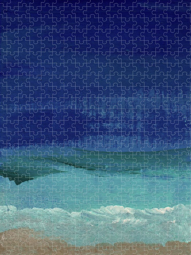 Abstract Art Puzzle featuring the painting Calm Waters- Abstract Landscape Painting by Linda Woods