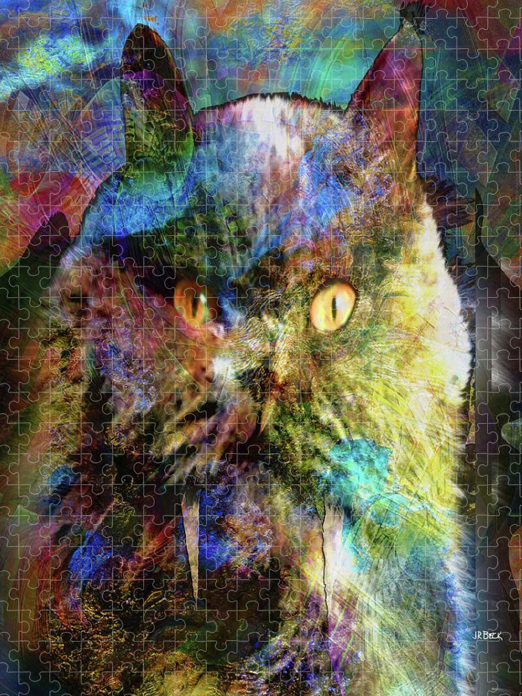 Cave Cat Puzzle featuring the digital art Cave Cat by John Robert Beck