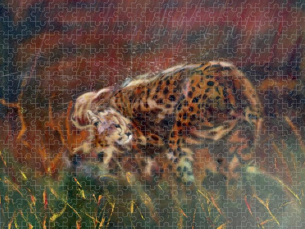 Oil Painting On Canvas Puzzle featuring the painting Cheetah Family After The Rains by Sean Connolly