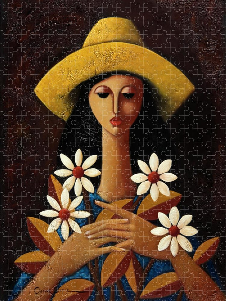 Puerto Rico Puzzle featuring the painting Cinco Margaritas by Oscar Ortiz