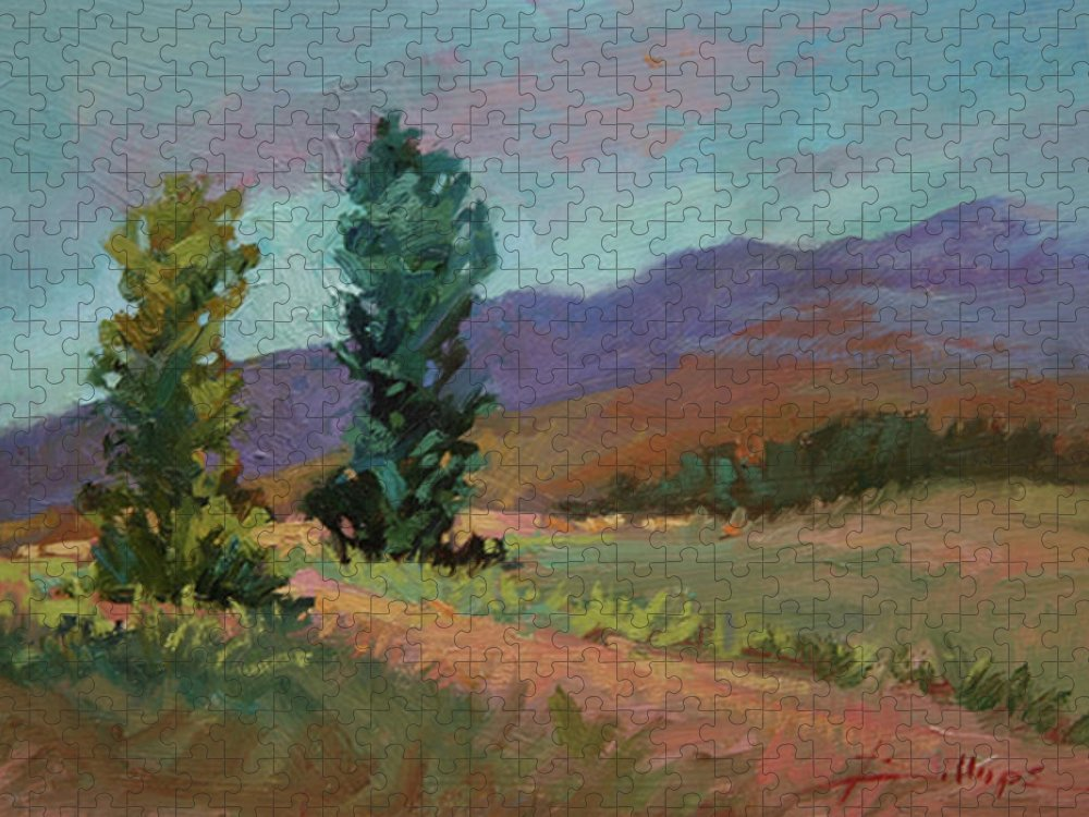 Cottonwood Paintings Puzzle featuring the painting Cottonwoods by Betty Jean Billups