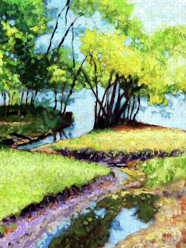 Trees Puzzle featuring the painting Creve Coeur Stream by John Lautermilch