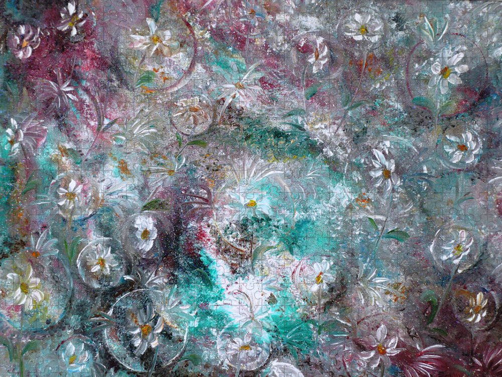 Original Flower Abstract Painting Puzzle featuring the painting Daisy Dreamz by Karin Dawn Kelshall- Best