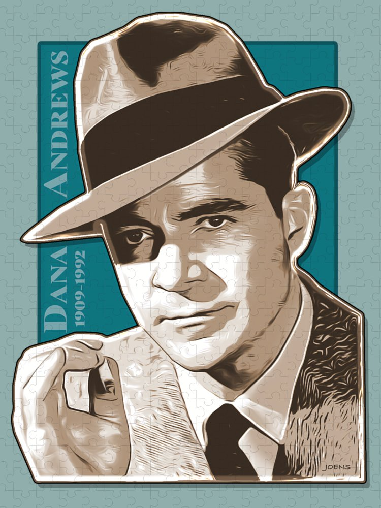 Dana Andrews Puzzle featuring the digital art Dana Andrews Pop Art by Greg Joens