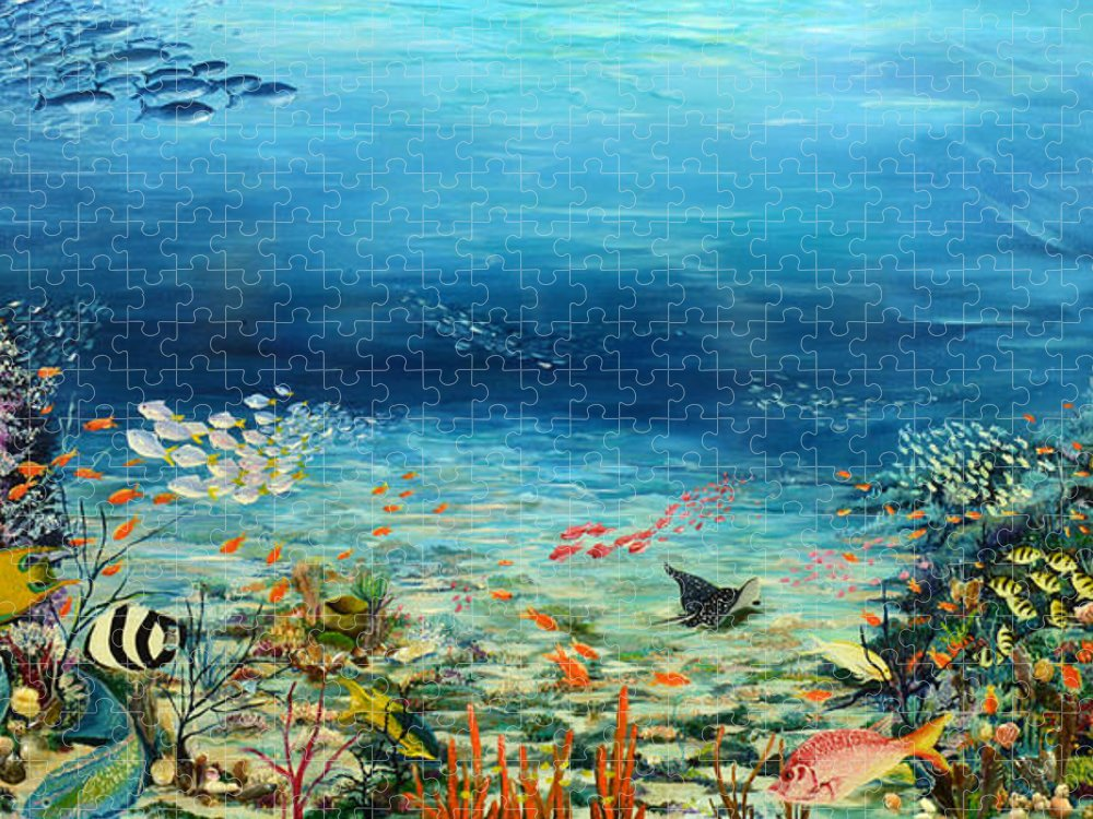 Ocean Painting Undersea Painting Coral Reef Painting Caribbean Painting Calypso Reef Painting Undersea Fishes Coral Reef Blue Sea Stingray Painting Tropical Reef Painting Tropical Painting Puzzle featuring the painting Deep Blue Dreaming by Karin Dawn Kelshall- Best