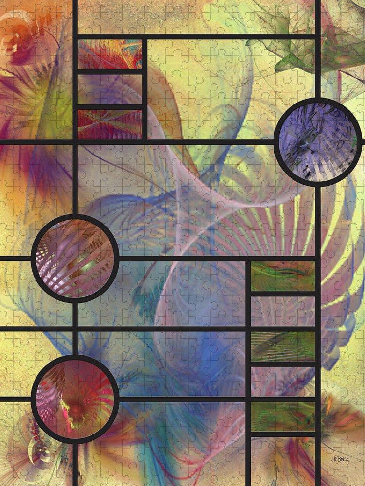 Frank Lloyd Wright Puzzle featuring the digital art Desert Blossoms by John Robert Beck