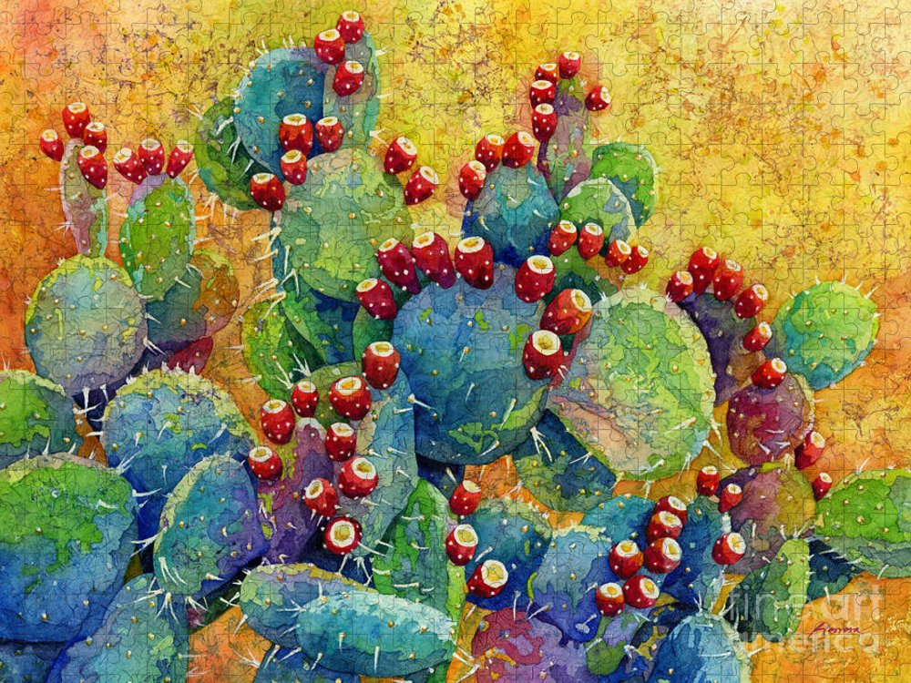 Cactus Puzzle featuring the painting Desert Gems by Hailey E Herrera